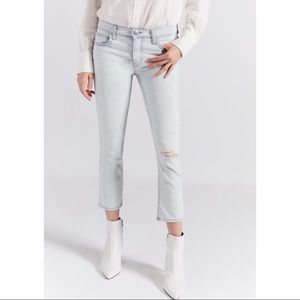 Current/Elliot distressed crop straight leg jeans